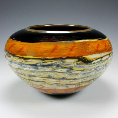 Gartner Blade Opal Open Bowl in Black and Tangerine Hand Blown American Art Glass