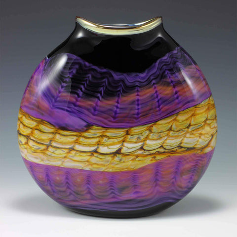 Opal Oval Flat Vase in Amethyst by Gartner Blade Art Glass