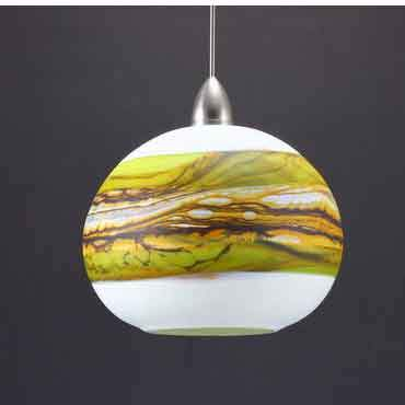Gartner Blade Opal Round Pendant in Lime Hand Blown American Art Glass Pendant Lighting