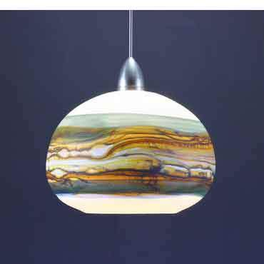Gartner Blade Opal Round Penadant in White Opal and Sage Hand Blown American Art Glass Pendant Lighting