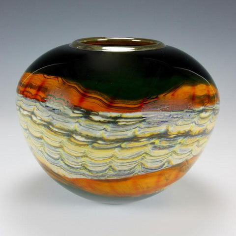 Gartner Blade Opal Sphere Vase in Black and Tangerine Hand Blown American Art Glass Vases