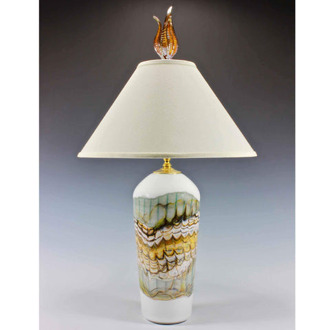 Gartner Blade Opal Table Lamp Hand Blown American Art Glass Lamps