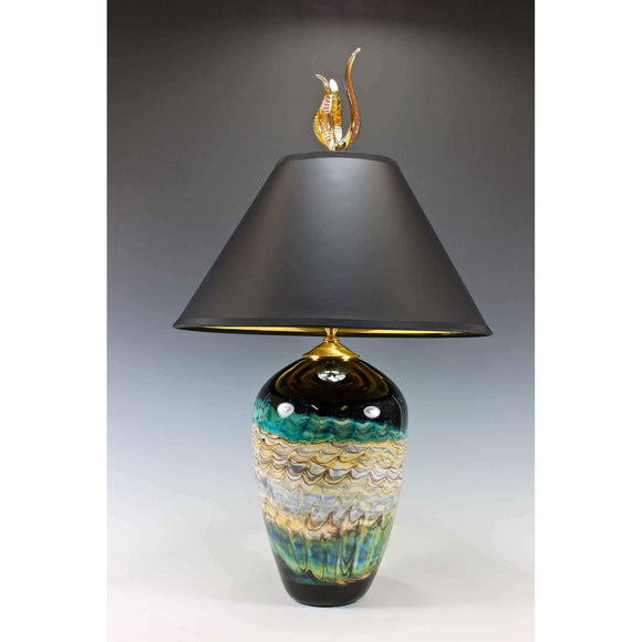 Gartner Blade Opal Short Table Lamp in Sage Hand Blown American Art Glass Lamps