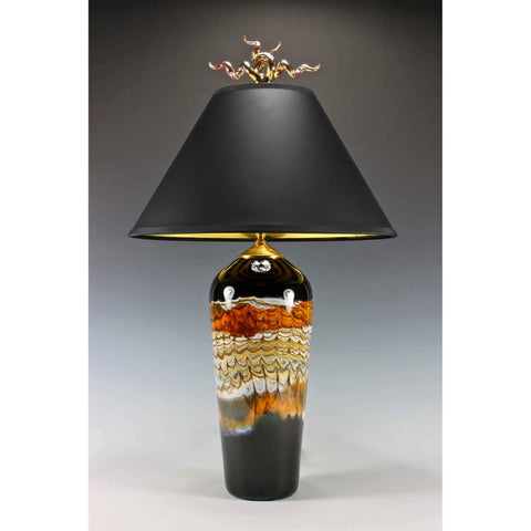 Gartner Blade Opal Tall Table Lamp in Tangerine Hand Blown American Art Glass Lamps