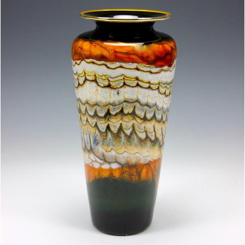 Gartner Blade Opal Traditional Urn Vase in Black and Tangerine Hand Blown American Art Glass Vases