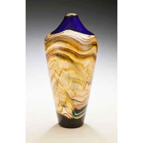 Gartner Blade Strata Closed Urn Vase in Cobalt Hand Blown American Art Glass Vases