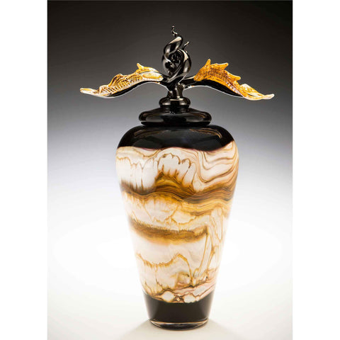 Gartner Blade Strata Covered Jar in Black Hand Blown American Art Glass
