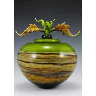 Gartner Blade Strata Covered Sphere in Lime with Avian Finial Hand Blown American Art Glass
