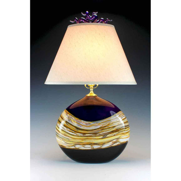 Gartner Blade Strata Flat Table Lamp in Black Hand Blown American Art Glass Lamps