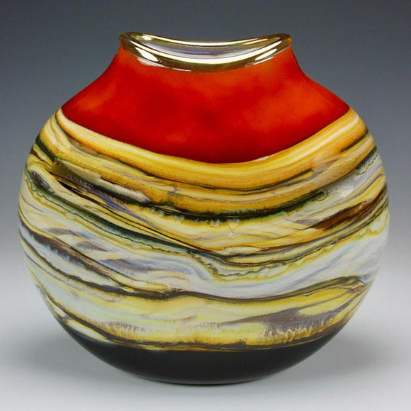 Gartner Blade Strata Flat Vessel in Tangerine Hand Blown American Art Glass Vases