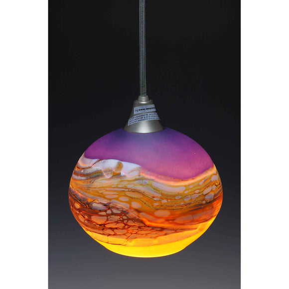 Gartner Blade Strata Pendant in Amethyst and Lime Hand Blown American Art Glass Pendant Lighting
