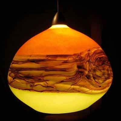 Gartner Blade Strata Pendant in Tangerine and Lime Hand Blown American Art Glass Pendant Lighting