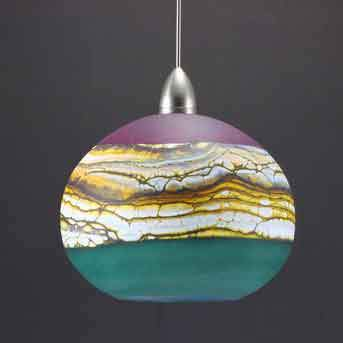 Gartner Blade Strata Round Pendant in Amethyst and Sage Hand Blown American Art Glass Pendant Lamps