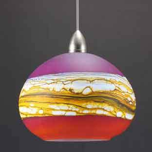Gartner Blade Strata Round Pendant in Ruby and Tangerine Hand Blown American Art Glass Pendant Lighting