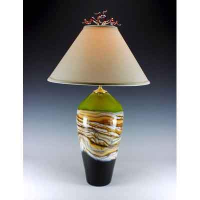 Gartner Blade Strata Table Lamp in Lime Hand Blown American Art Glass Lamps