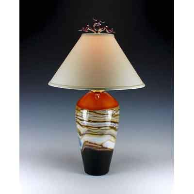 Gartner Blade Strata Table Lamp in Tangerine Hand Blown American Art Glass Lamps