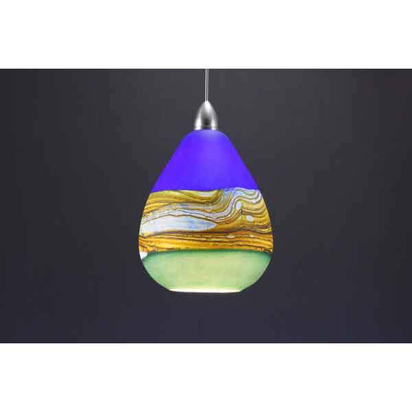 Gartner Blade Strata Teardrop Pendant in Cobalt and Sage Lit Hand Blown American Art Glass Pendant Lighting