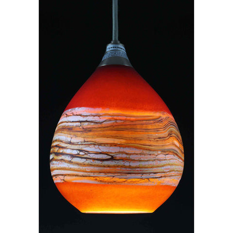 Gartner Blade Strata Teardrop Pendant in Ruby and Tangerine Hand Blown American Art Glass Pendant Lighting