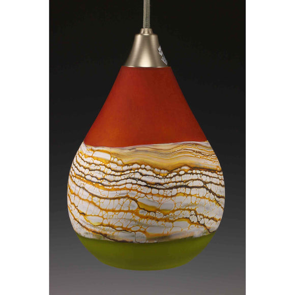 Gartner Blade Strata Teardrop Pendant in Tangerine and Lime Unlit Hand Blown American Art Glass Pendant Lighting
