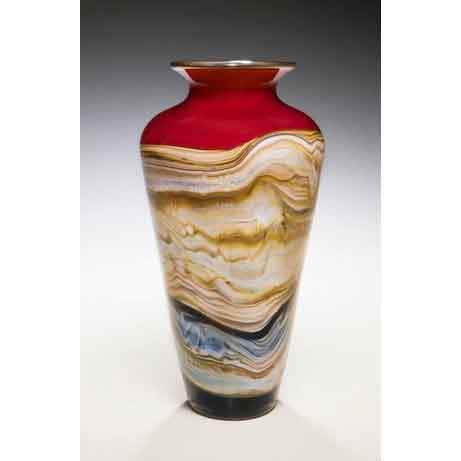 Gartner Blade Strata Traditional Urn in Ruby Hand Blown American Art Glass Vases