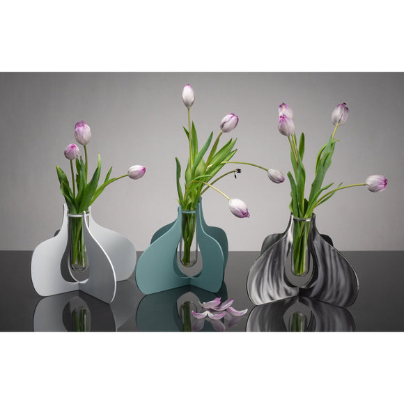 Girardini Design Quad Droplet Vase in Natural Steel Aqua and White Artistic Artisan Designer Vases