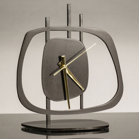 Girardini Design Quasar 1 Clock Oiled in Bronze Finish with Brass Hands Artistic Artisan Designer Clocks