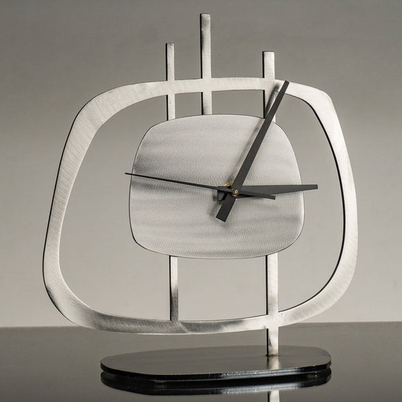 Girardini Design Quasar 1 Clock in Silver with Black Hands Artistic Artisan Designer Clocks