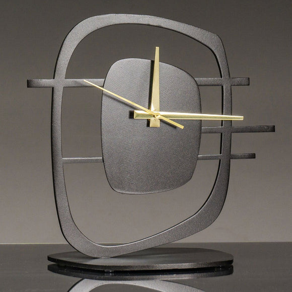 Girardini Design Quasar 2 Clock in Oiled Bronze with Brass Hands Artistic Artisan Designer Clocks