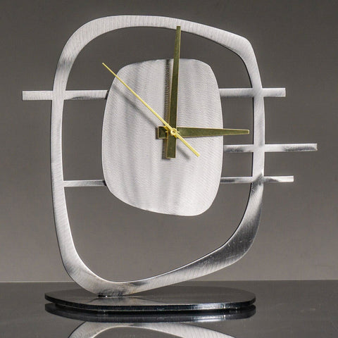 Girardini Design Quasar 2 Clock in Silver with Brass Hands Artistic Artisan Designer Clocks