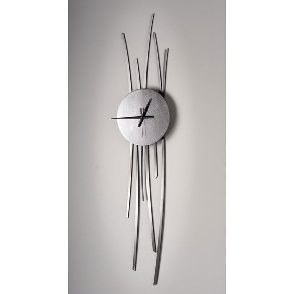 Girardini Design Silver Willow Clock Hangs Horizontally or Vertically Artistic Artisan Designer Wall Clocks