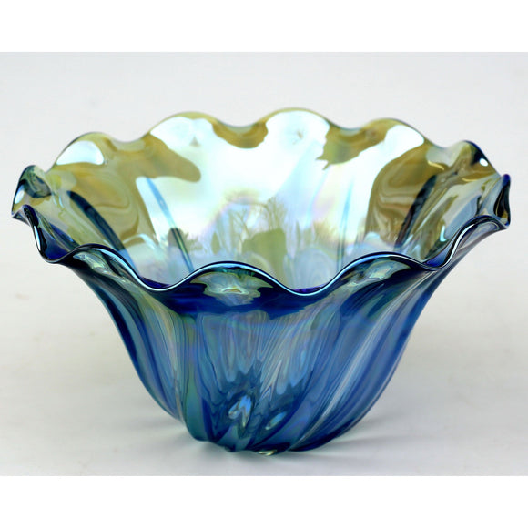 Glass Rocks Dottie Boscamp Clam Bowl Shown In Light Blue Artisan Handblown Art Glass Bowls