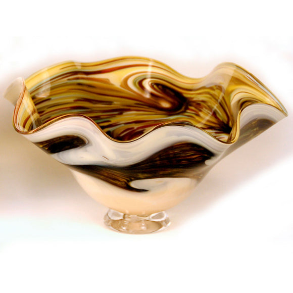 Glass Rocks Dottie Boscamp Earth Series Fluted Bowl Artisan Handblown Art Glass Bowls