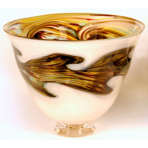 Glass Rocks Dottie Boscamp Earth Series Wide Bowl Artisan Handblown Art Glass Bowls