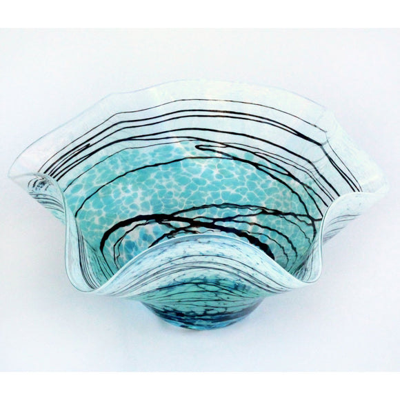 Glass Rocks Dottie Boscamp Lightning Series Fluted Bowl Artisan Handblown Art Glass Bowls