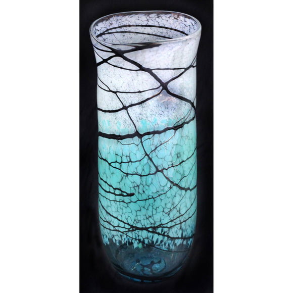 Glass Rocks Dottie Boscamp Lightning Series Straight Oval Vase Artisan Handblown Art Glass Vases