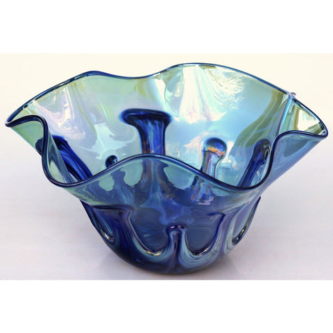 Glass Rocks Dottie Boscamp Lily Pad Series Light Blue Fluted Bowl Artisan Handblown Art Glass Bowls
