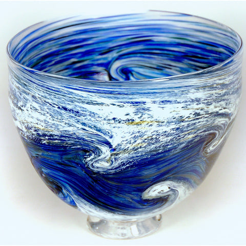 Glass Rocks Dottie Boscamp Ocean Spray Series Large Bowl Artisan Handblown Art Glass Bowls