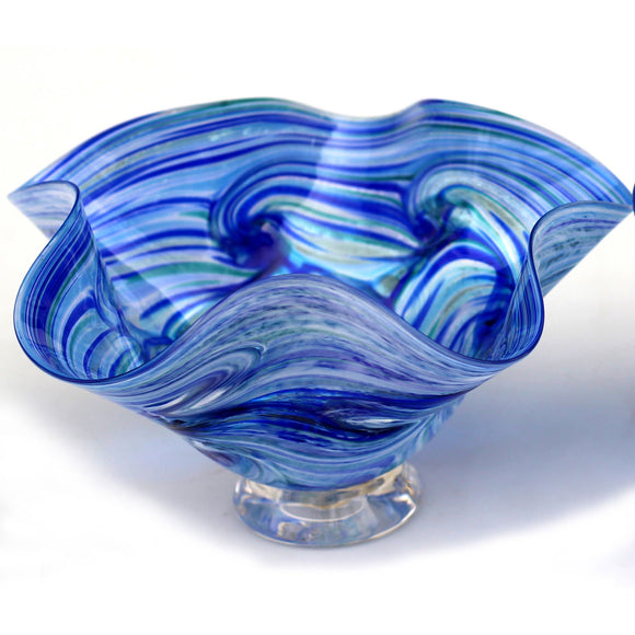 Glass Rocks Dottie Boscamp Ocean Spray Series Fluted Bowl Artisan Handblown Art Glass Bowls