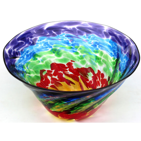 Glass Rocks Dottie Boscamp Optic Rainbow Series  Bowl Artisan Handblown Art Glass Bowls