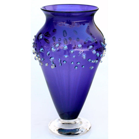 Glass Rocks Dottie Boscamp Purple Dew Drops Series Venetian Vase Artisan Handblown Art Glass Vases