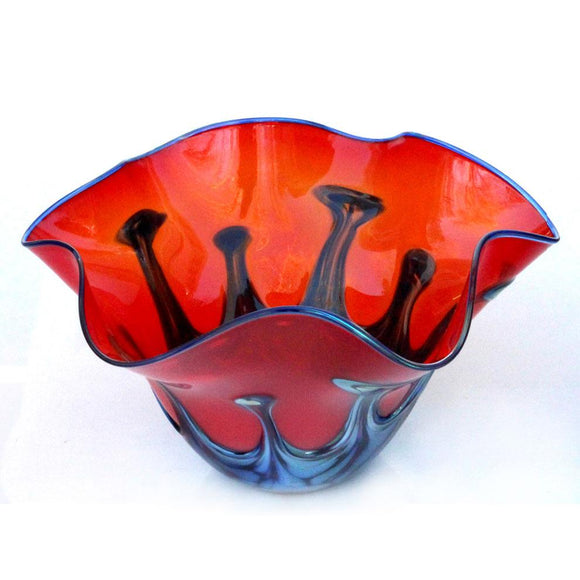Glass Rocks Dottie Boscamp Red Lily Pad Bowl Artisan Handblown Art Glass Bowls