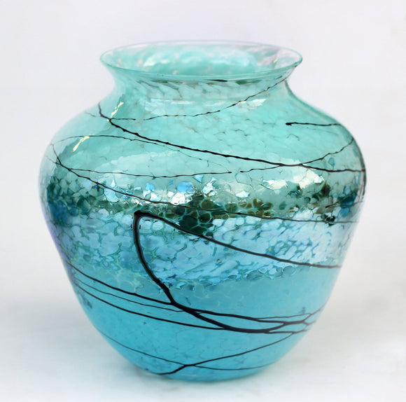 Glass Rocks Dottie Boscamp Silver Green Lightning Urn Artisan Handblown Art Glass Vases