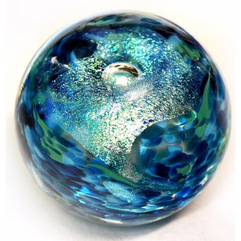 Glass Rocks Dottie Boscamp Teal Dichro Paperweight Artisan Handblown Art Glass Paperweights