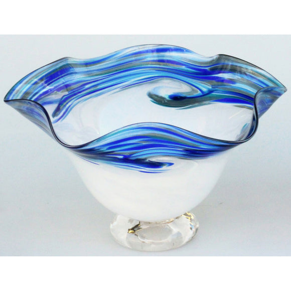 Glass Rocks Dottie Boscamp White Wave Series Fluted Bowl Artisan Handblown Art Glass