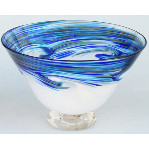 Glass Rocks Dottie Boscamp White Wave Series Tall Bowl Artisan Handblown Art Glass Bowls