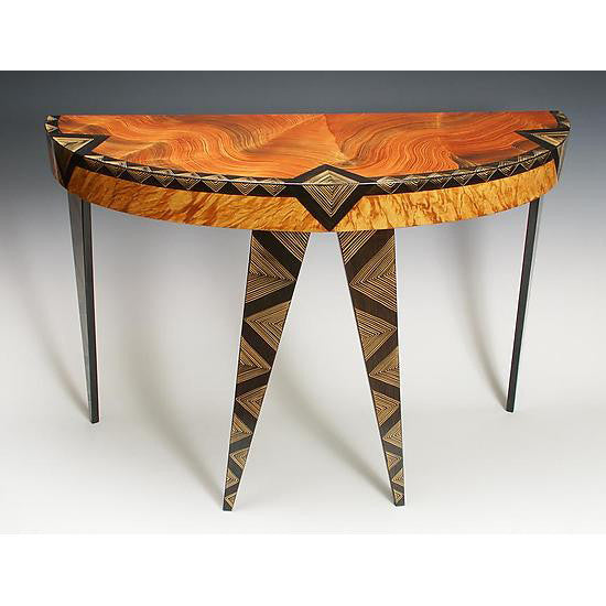 Grant Noren Art Deco Demilune Table, Artistic Artisan Designer Tables