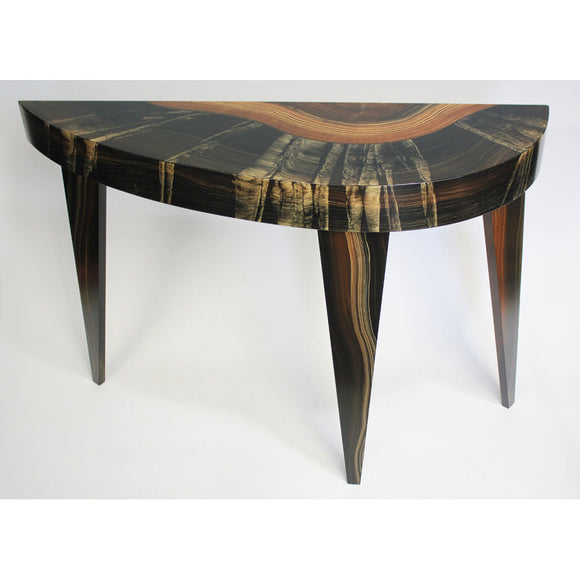 Grant Noren Dark Flame French Curve Console, Artistic Artisan Designer Tables