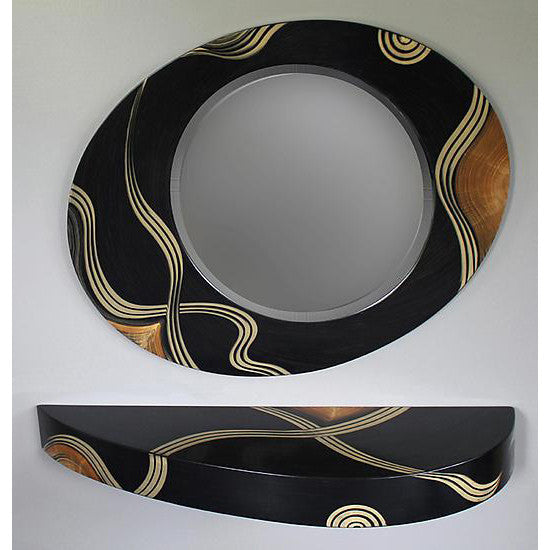 Grant Noren Kyoto French Curved Shelf and Mirror, Artistic Artisan Designer Mirrors