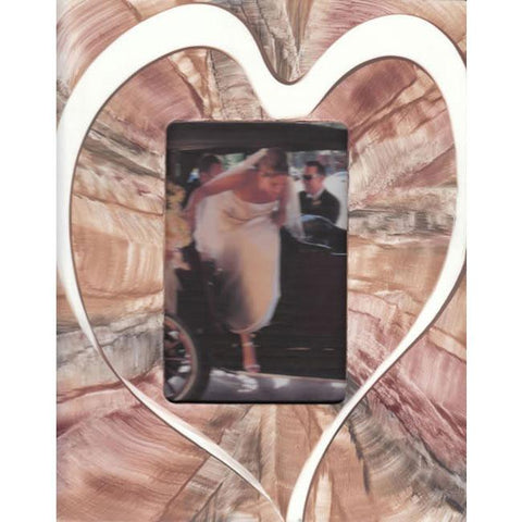 Grant Noren Painted Faux Finish Heart Photo Frame HrtC479 Artistic Artisan Designer Photo Frames