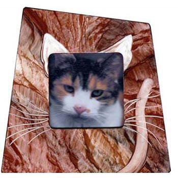 Grant Noren Painted Faux Finish Wood Cat Photo Frame Cat Artistic Artisan Designer Photo Frames